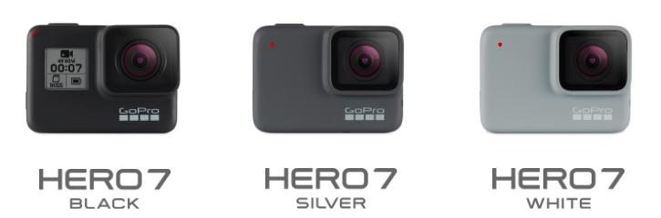 GoPro HERO7 BlackとSilverとWhite