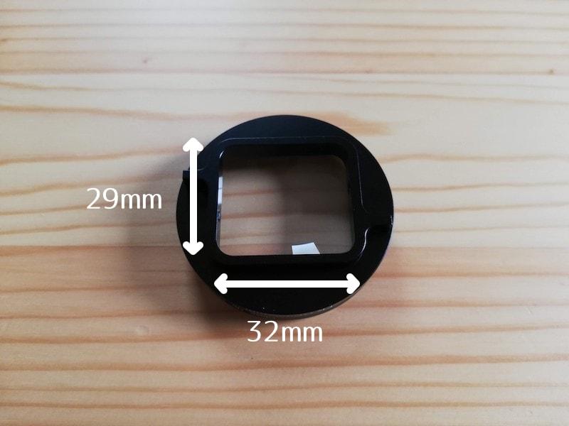 GoPro対応クローズアップレンズの裏面サイズ