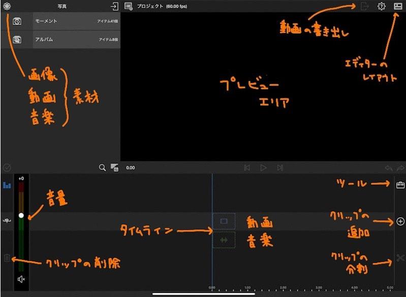 Lumafusionの編集画面のアイコン