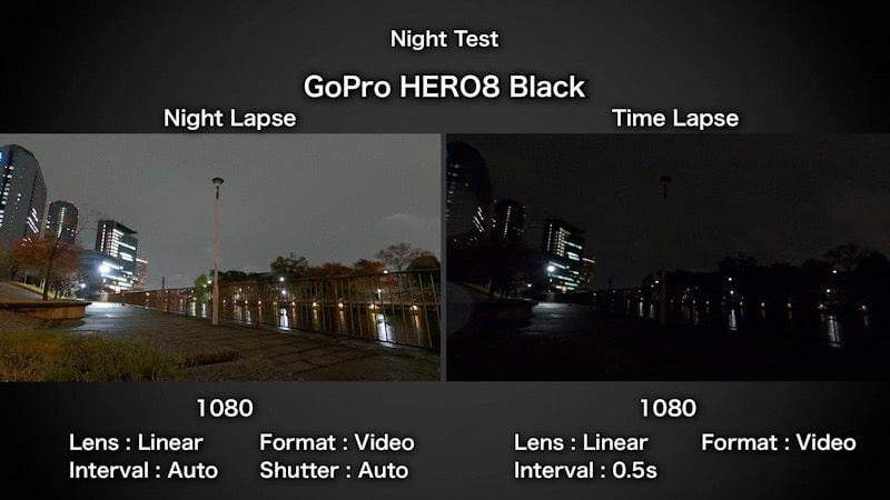 GoPro HERO8 Blackのナイトラプスビデオ比較