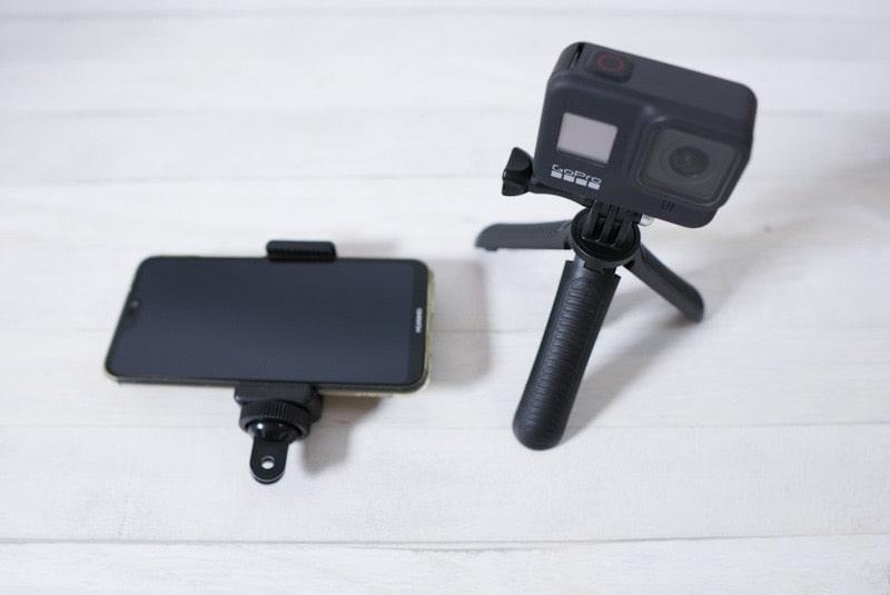 『Taisioner』のミニ自撮り棒にGoProとスマートフォン