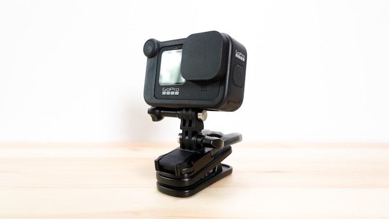 GoProにバイトマウントとスイベルクリップ